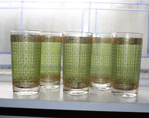 5 Mid Century Tumblers Green Basket Weave Gold Trim Vintage 1950s