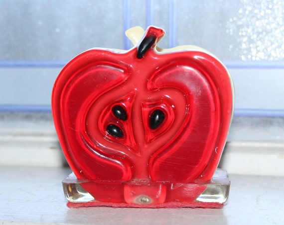 Vintage 60s Mod Apple Napkin Holder Acrylic Lucite Resin