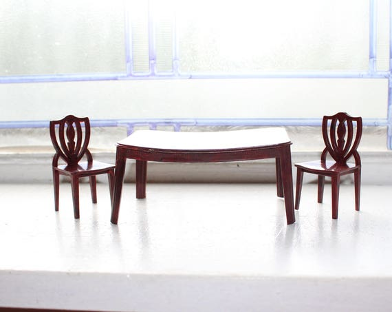 Dollhouse Furniture Table and 2 Chairs Vintage 1960s