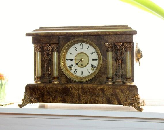 Antique Victorian Mantle Clock Seth Thomas Faux Marble