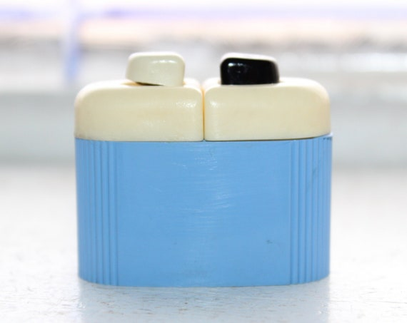 Vintage Art Deco Push Button Salt and Pepper Shakers Blue and White