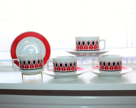 4 Danish Modern Style Cups & Saucers Vintage 1970s Schirnding Bavaria
