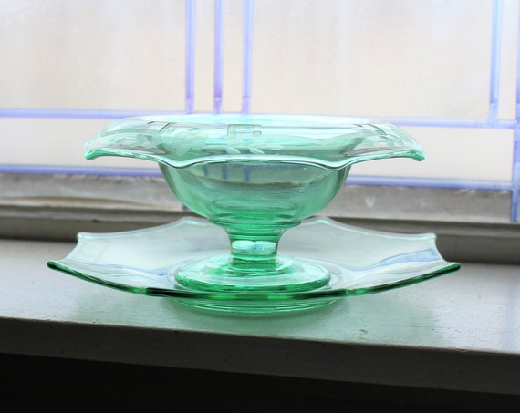 Art Deco Pedestal Bowl & Underplate Etched Green Glass vintage 1920s