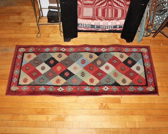 Vintage Rug Red with Geometric Shapes 59 x 22.5