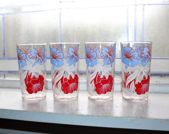 4 Mid Century Glass Tumblers Red White & Blue Flowers Vintage 1950s