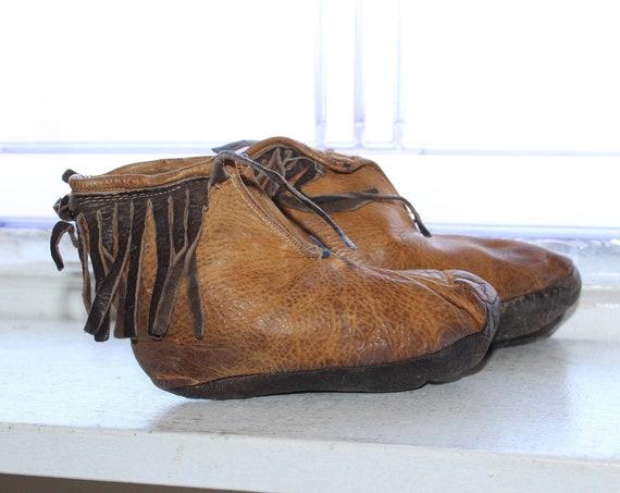 Antique Primitive Child's Leather Moccasins