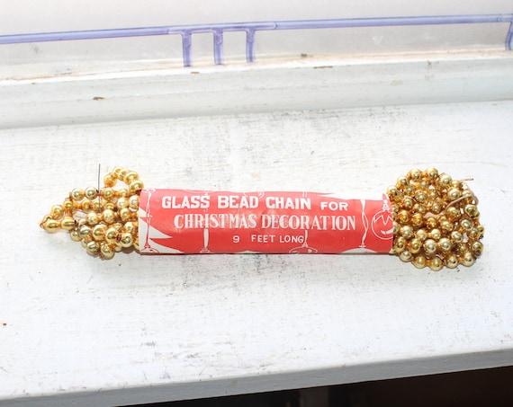Vintage Christmas Garland Gold Mercury Glass Beads 1950s 9 Feet Long