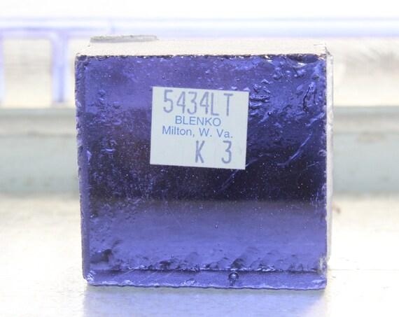Vintage Blenko Glass Color Sample Block Paperweight Art Supply 5434LT K3