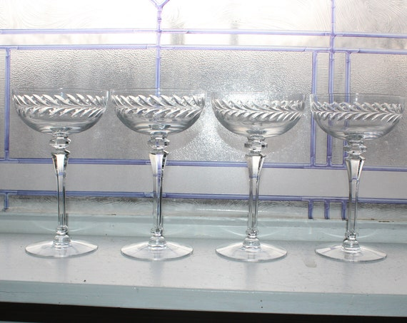 4 Vintage 1940s Cut Crystal Wine or Champagne Glasses