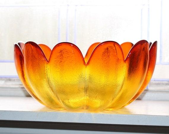Large Vintage Bowl Mid Century Amberina Wayne Husted Indiana Glass