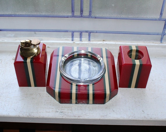 Vintage Art Deco Bakelite Smoke Set Red Ashtray Lighter Match Holder