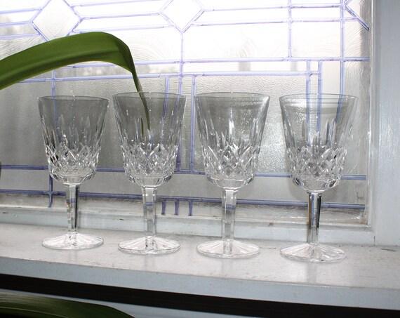 """4 Waterford Crystal Lismore Wine Glasses 7"""" Stemware"""