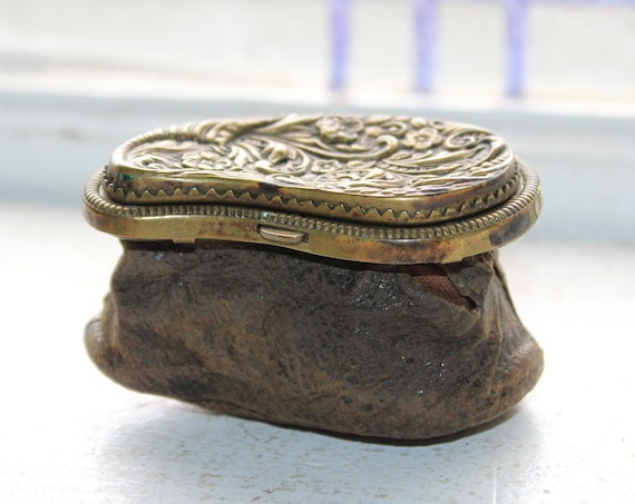 Antique Leather and Brass Coin Purse Circa Late 1800s