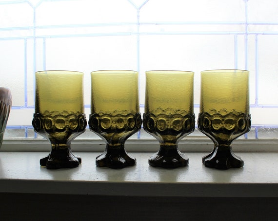 4 Vintage Tiffin Franciscan Madeira Tumblers Chunky Green Glass 1970s