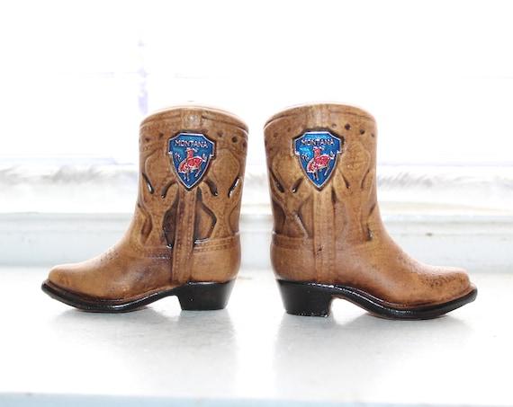 Salt Pepper Shakers Vintage Montana Cowboy Boots