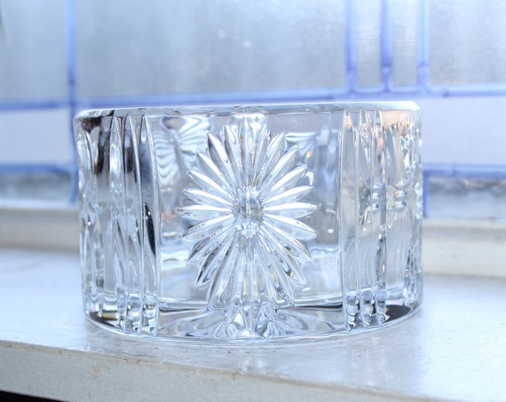 Waterford Crystal Bowl Wine Bottle Holder Heart Angel Wheat Bow