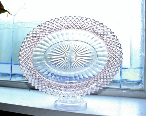 Pink Depression Glass Oval Vegetable Bowl Miss America Diamond Vintage 1930s