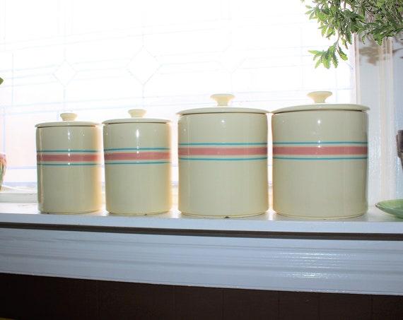 Vintage Kitchen Canister Set McCoy Stonecraft Pink and Blue Stripes