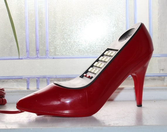 Red Pump High Heeled Shoe Telephone Push Button Vintage 1980s