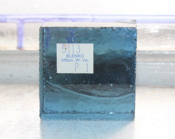 Vintage Blenko Glass Color Sample Block Paperweight Art Supply 5113 P1