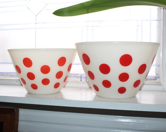 2 Vintage Fire King Glass Red and White Polka Dot Nesting Mixing Bowls
