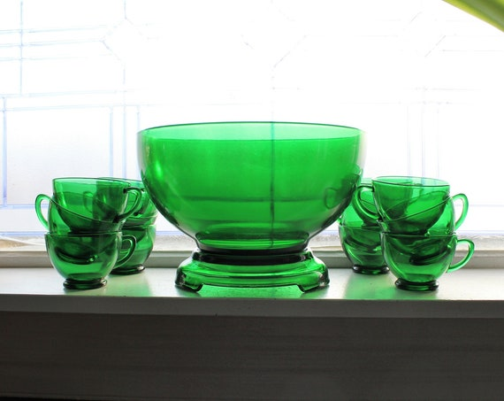 St Patrick's Day Party Time! Forest Green Punch Bowl Set with 12 Cups