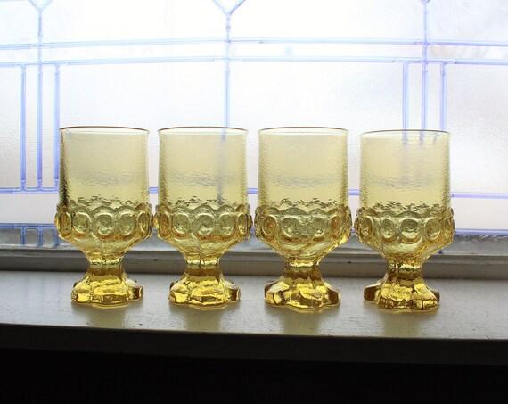 4 Vintage Tiffin Franciscan Madeira Tumblers Cornsilk Yellow Glass 70s