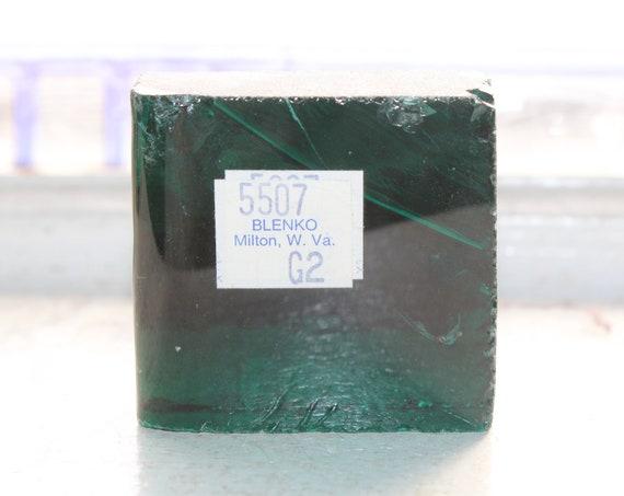Vintage Blenko Glass Color Sample Block Paperweight Art Supply 5507 G2