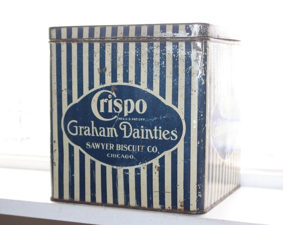Crispo Graham Dainties Tin Vintage Blue and White Kitchen Decor 1930s