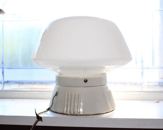 Art Deco Ceiling Light with Milk Glass Globe Shade Vintage 1930s