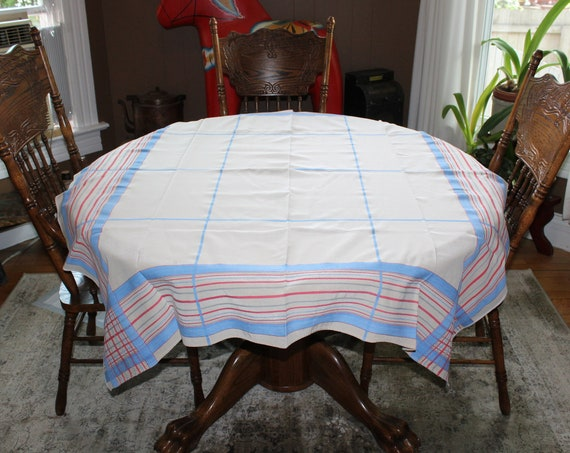 Vintage 1960s Tablecloth Retro Red White and Blue