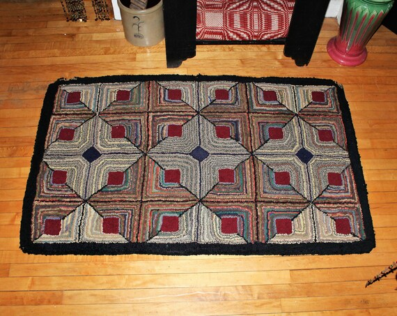 Large Antique Hooked Rug Hand Made Folk Art 61 x 37 Inches Early 1900s