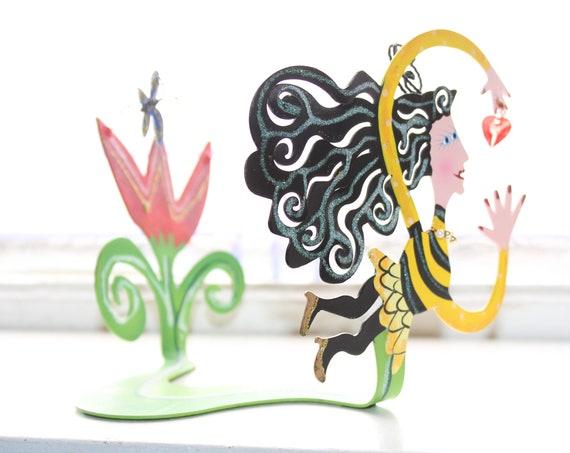 Delightful Karen Rossi Metal Sculpture Bumble Bee Woman Artist Signed