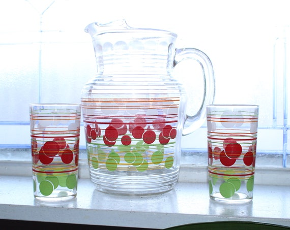 Mid Century Glass Pitcher and 2 Tumblers Red White Green Vintage 1950s