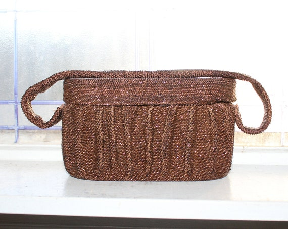 Vintage Brown Beaded Handbag Evening Bag Purse 1950s