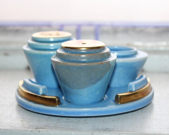 Vintage Art Deco Carlton Ware Moderne Condiment Set Shakers Tray Toothpick