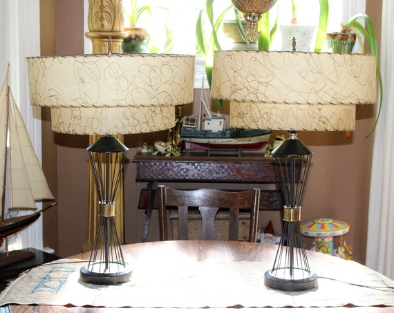 Vintage 1950s Mid Century Table Lamp Pair Black & Gold 2 Tier Shades