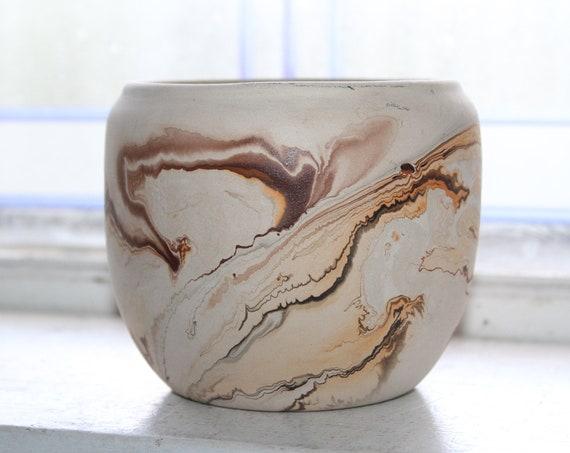 Vintage Nemadji Pottery Vase Bowl Brown Swirls Southwestern Decor