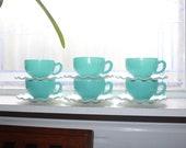 6 Crinoline Blue and White Cups 6 Saucers Hazel Atlas Vintage 1950s