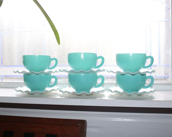 6 Crinoline Blue and White Cups & 6 Saucers Hazel Atlas Vintage 1950s