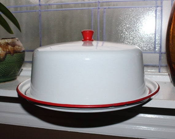 Vintage 1940s Enamelware Cake Carrier Covered Cake Plate Red and White