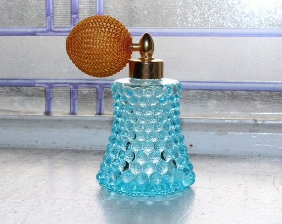 Vintage Blue Hobnail Glass Perfume Bottle Atomizer