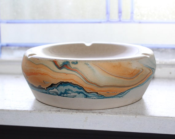 Large Nemadji Ashtray Vintage Swirl Pottery
