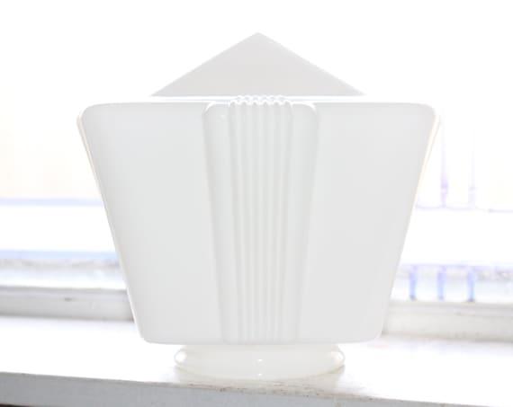 Art Deco Ceiling Light Square Globe Milk Glass 1920s