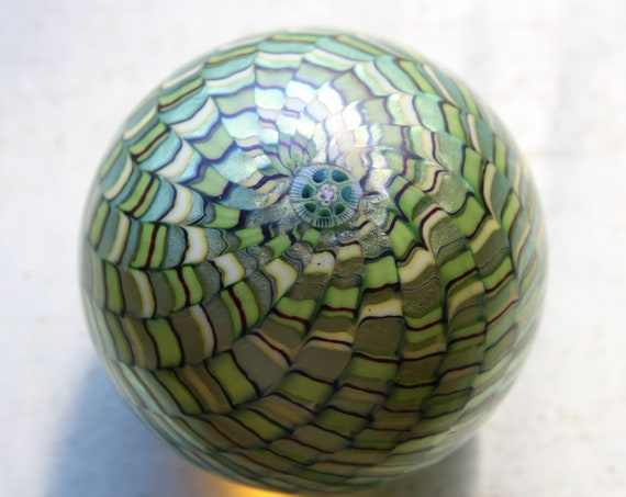 Vintage Orient and Flume Green Pinwheel Paperweight Art Glass 1979