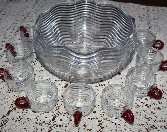 Duncan Miller Glass Carribean Punch Bowl & Cups Ruby Red Handles 1930s