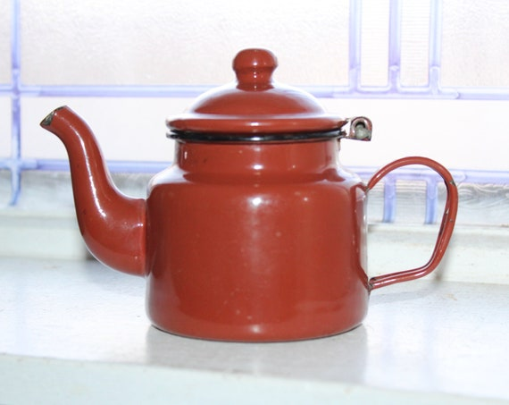 Vintage Brick Red Enamelware Teapot Small Graniteware Tea Pot Toy Size