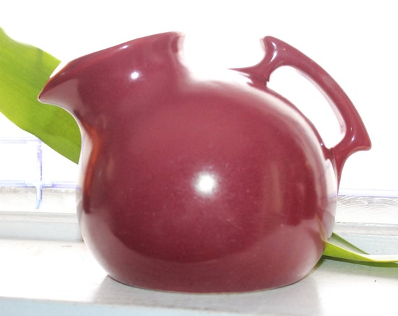 Maroon Red Ball Pitcher Uhl Pottery Vintage 1940s