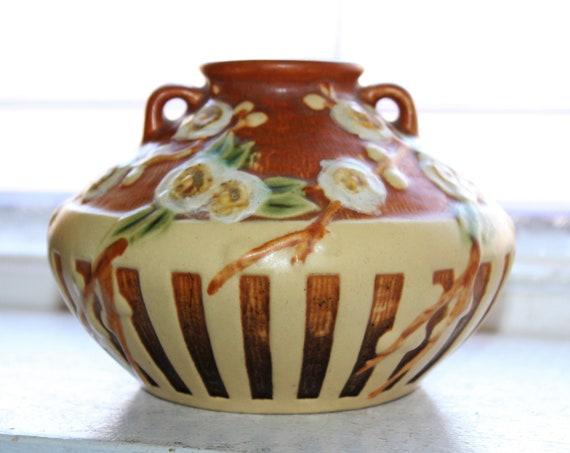 Roseville Pottery Cherry Blossom Vase Gorgeous 617-3 Vintage 1930s