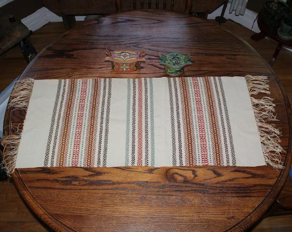 Antique Norwegian Hand Woven Table Runner